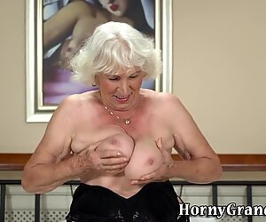 Gray haired granny jizzed