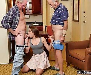 Busty babe sucking two grandpas dicks