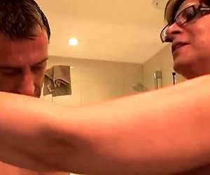 Mature english sub gets face drenched in cum