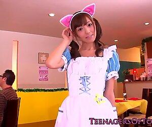 Japanese teens bukkake action at her job