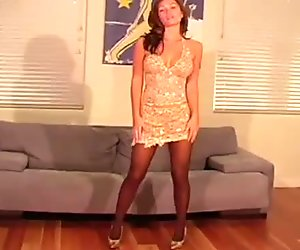 Tiny tits chick makes show in black pantyhose