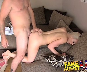 Fake Agent UK Blonde bombshell swallows agents cumload