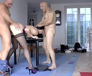 Mature british in stockings double penetrated hard