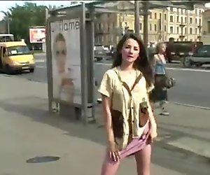 Sexy Secretary Striptease in Bus Stop