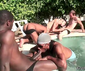 Five sexy gay studs fucking and sucking gay video