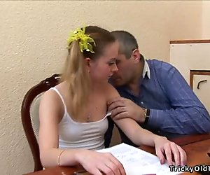 Horny old teacher gives juvenile babe a drilling