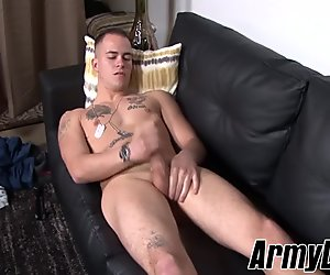 Sexy soldier guy pulls out his fat cock and wanks it solo