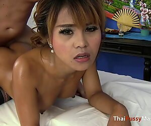 Thai cutie gets a rub down then gets fucked from behind