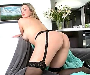 Graceful blonde MILF Abbey Brooks gives passionate blowjob