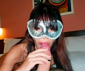 Tiny Thai sucking a big dick and enjoy it - GF 18 blowjob