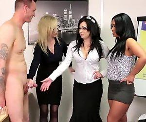 Euro CFNM femdom sucking cock in office