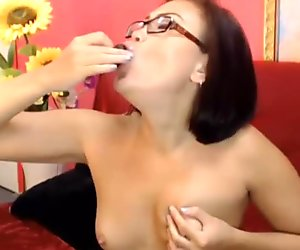 Girl next door Ashantis with glasses and small tits gets cum