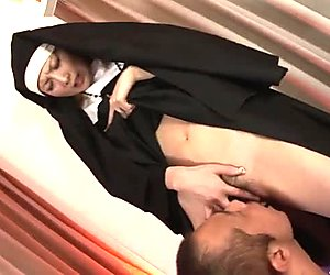 Whorable Japanese nun pulls up her gown and gets her hairy cunt tickled