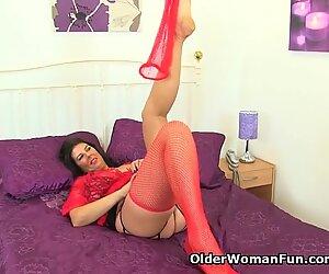 British milf Lulu Lush peels off her red fishnet stockings