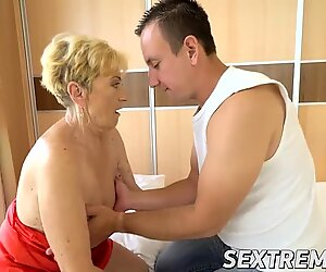 Hot stud Rob destroys horny granny Maylas old and hairy cunt