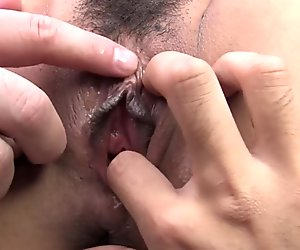 A group of horny guys show a hot young thing how to cum
