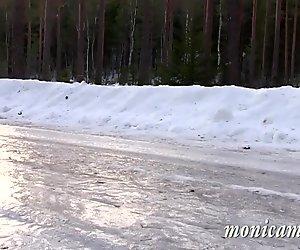 MonicaMilf s car breaksown in the Norwegian winter