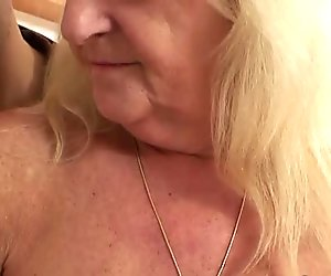 He fucks blonde grandma in black stockings
