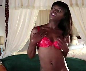 Ebony babe deep throats pov interracial