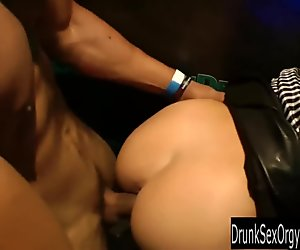Dirty club bitches suck cocks in public