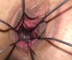 Gaping and gyno dildoing her subtle hole