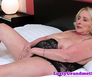 Chubby bigtit grandma plays with pussy
