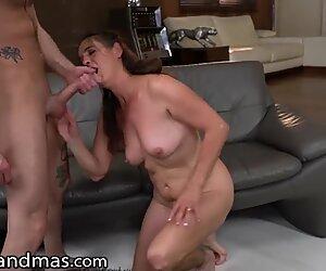 LustyGrandmas GILF Gets Facial from Young Studs Cock