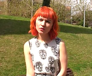 Nice red head  from the street demonstrates  upskirt view