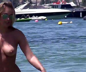 Gorgeous Topless Babes Filmed on Beach by Voyeur