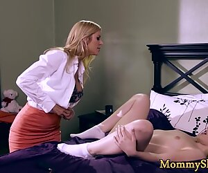 Busty milf pussytoying hairy stepdaughter