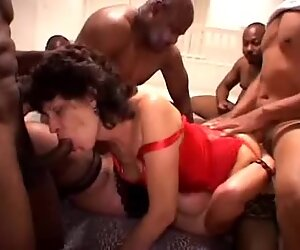 Hardcore Interracial grannies get gangbanged and shot with load after load