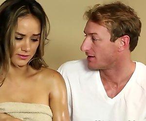 Busty babe banged on massage table