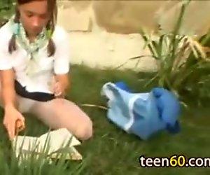 student masturbates in the grass